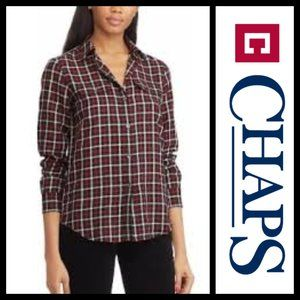 Chaps Black Plaid Multi Twill Button-Down Shirt